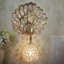 Modern Golden peacock wall lamp crystal ball aisle wall light fixture surface mounted wall sconces