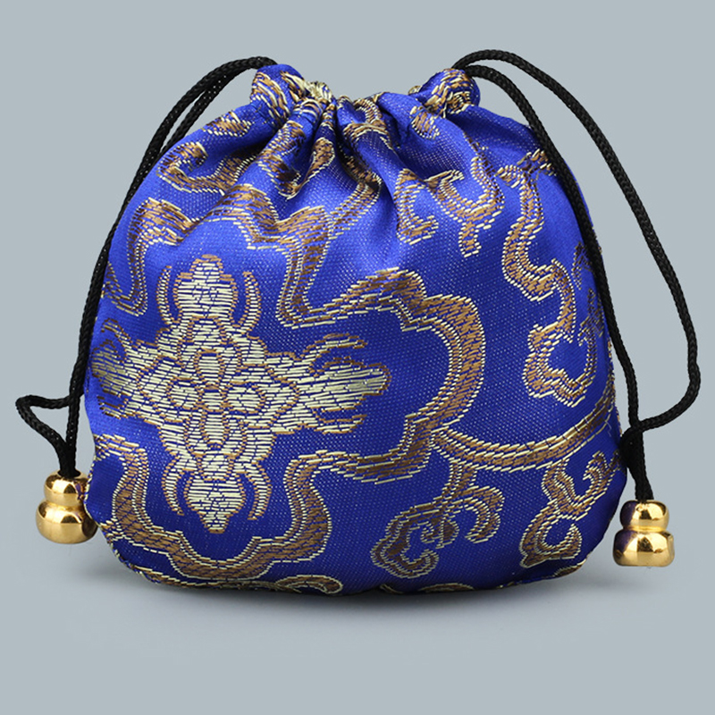 Mini Reusable Handmade Fabric Storage Bag Satin Drawstring Chinese Silk Brocade Pouches Bag Damask Jewelry Gift Bags