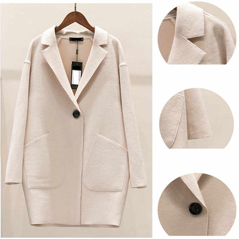 Кашемировое шерстяное пальто, осень, большой размер, женская тонкая куртка, весна 2018, mediun, длинное, одноцветное, Женская кашемировая верхняя одежда, мода 517