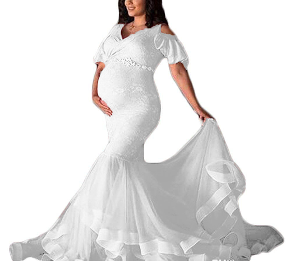 501e69fb912a Detail Feedback Questions about Women's Lace Maternity Wedding Dresses Baby  Shower Beaded Sash Mermaid Pregnant Prom Party Dress for Photography on ...