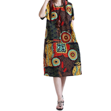 Vintage Printing Dress Women Casual Summer Clothing 2015 Tropical Plus Size Loose-fitting Dress Short Sleeve Dress C35