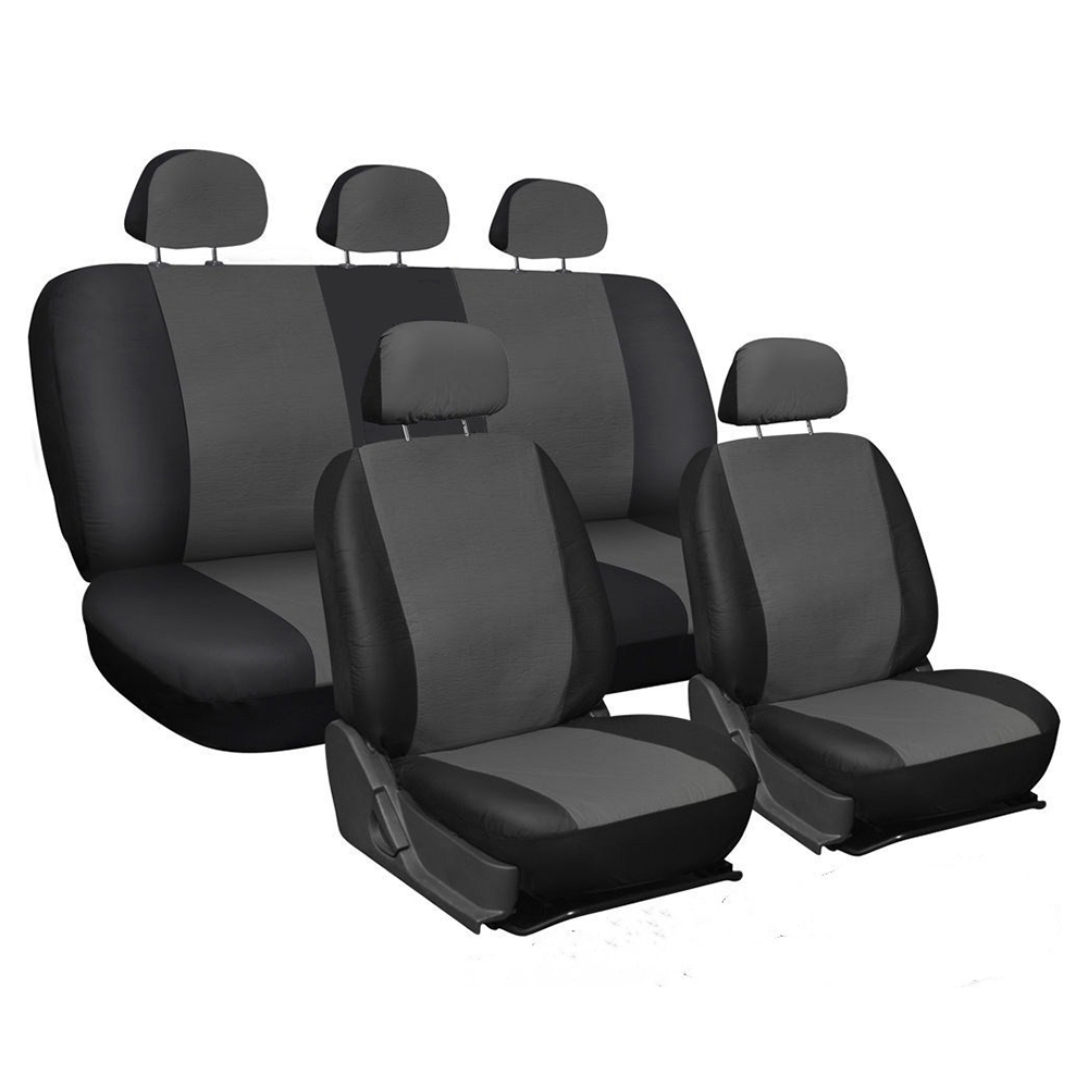 Deluxe Universal Ohio Black /& Grey Fabric Van Seat Cover Protectors Set 2+1