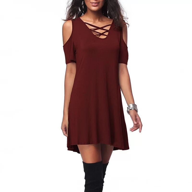 Style women dress womens sexy hollow out cold shoulder clothing new ladies female dresses