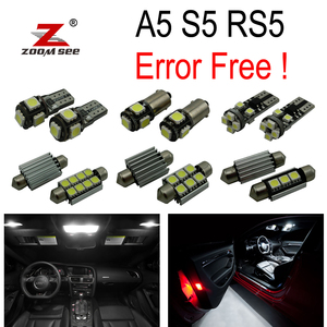 14pcs LED Front dome lamp + Rear + Vanity mirror + Trunk + Glove + Door Interior Lights Kit for Audi A5 S5 RS5 B8 (08-15)