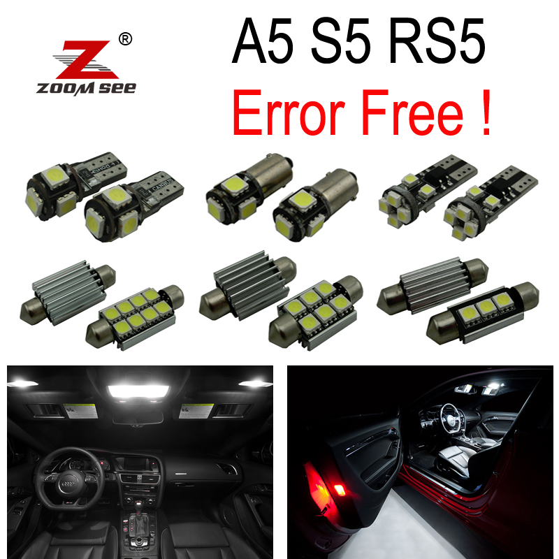 14pcs LED Depan dome lamp + Belakang + vanity mirror + Trunk + Glove + Pintu Interior Lights Kit untuk Audi A5 S5 RS5 B8 (08-15)