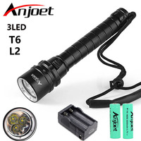 For Diver Lamp 200M Underwater 6000LM 3x XML L2 LED Scuba Diving Flashlight Torch Waterproof Light Lantern+2X 18650 +Charger