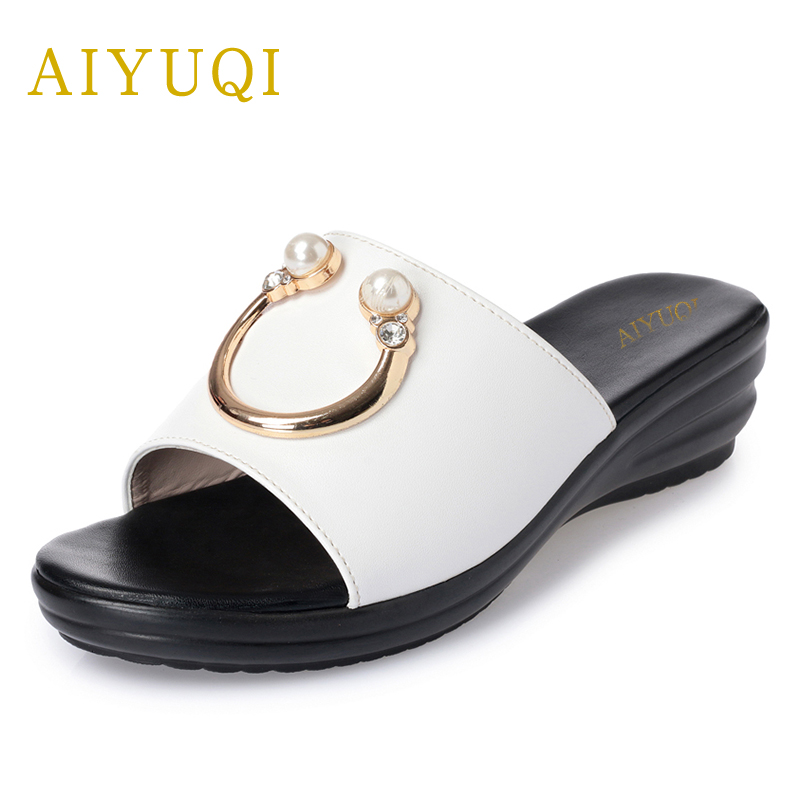 AIYUQI 2018 new women's shoes for the summer genuine leather ladies wedge sandal big size 41#42#43# beach flip flops women aiyuqi 2018 new 100% genuine leather women shoes big size 41 42 43 low heel pumps trend ladies shoes women dress shoes