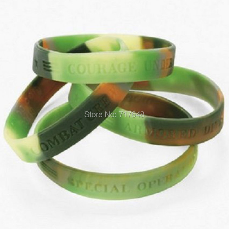 300pcs green camouflage army wristband silicone bracelets free shipping by fedex express - Support Our Troops Silicone Bracelet