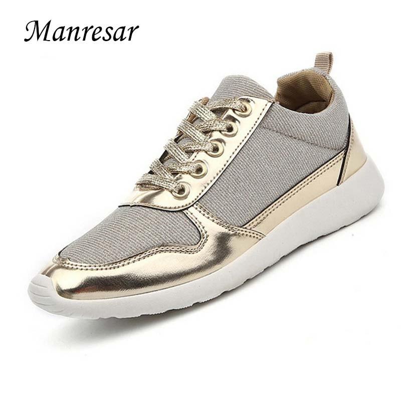 Manresar New 2017 Fashion Female Girl Shoes Breathable Canvas Women Low Wedges Lace-up Casual Shoes Platform Sliver Golden Black