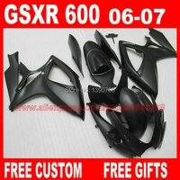 Лидер продаж Обтекатели набор для 2006 2007 SUZUKI K6 GSX R 600/750 все матовый черный комплект обтекателей GSXR 600 06 GSXR 750 07 CB47