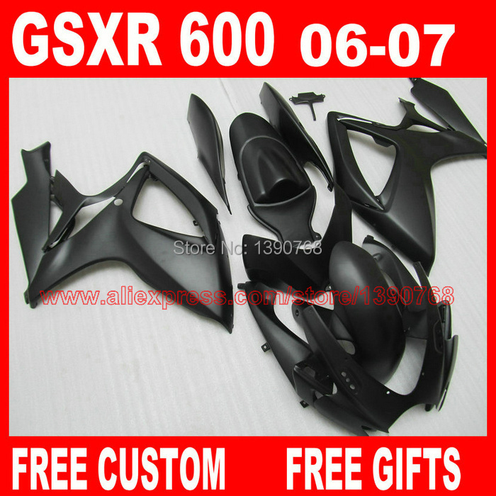 Hot Sale <font><b>fairings</b></font> set for 2006 2007 SUZUKI K6 GSX-R <font><b>600</b></font>/750 all matte black <font><b>fairing</b></font> <font><b>kit</b></font> <font><b>GSXR</b></font> <font><b>600</b></font> 06 <font><b>GSXR</b></font> 750 <font><b>07</b></font> CB47 image