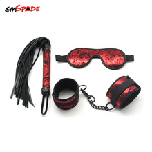 Smspade Red Rosy Faux Leather Bondage Kit Contains Bondage Handcuffs Blindfold Flogger Whip Adult Restraints Kit for Erotic Game