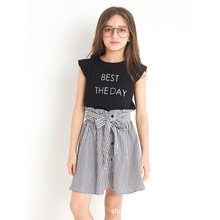 Children's Wear Girls' Suits 2 Pieces Letter Printing Tee Shirt Striped Skirt Children's Summer Clothes Set for 6-14Y Teen Girls цены онлайн