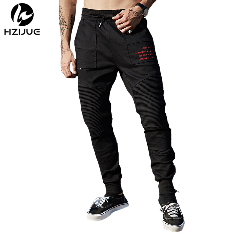 HZIJUE Men Side Lace-Up Joggers Pants Hip Hop Casual Cotton Harem Joggers Sweatpants 2017 Male print Trousers Streetwear Black unisex galaxy nebula space sweatpants joggers sportswear pants blue l