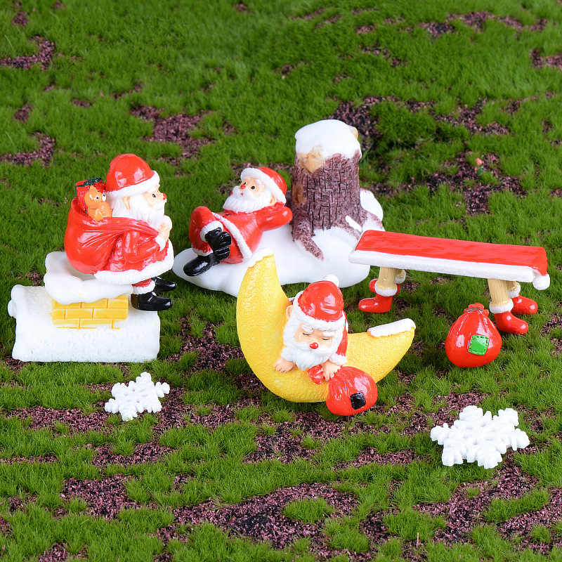 Mini Christmas Figures Snowman Sant claus Miniature figurine home  decoration DIY Fairy Garden ornaments Resin craft kids toys