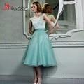 Vestidos Mint Green Plus Size Robe De Cocktail 2016 A-line Party Dress Lace Corset Tea Length Short Prom Gowns LIyatt