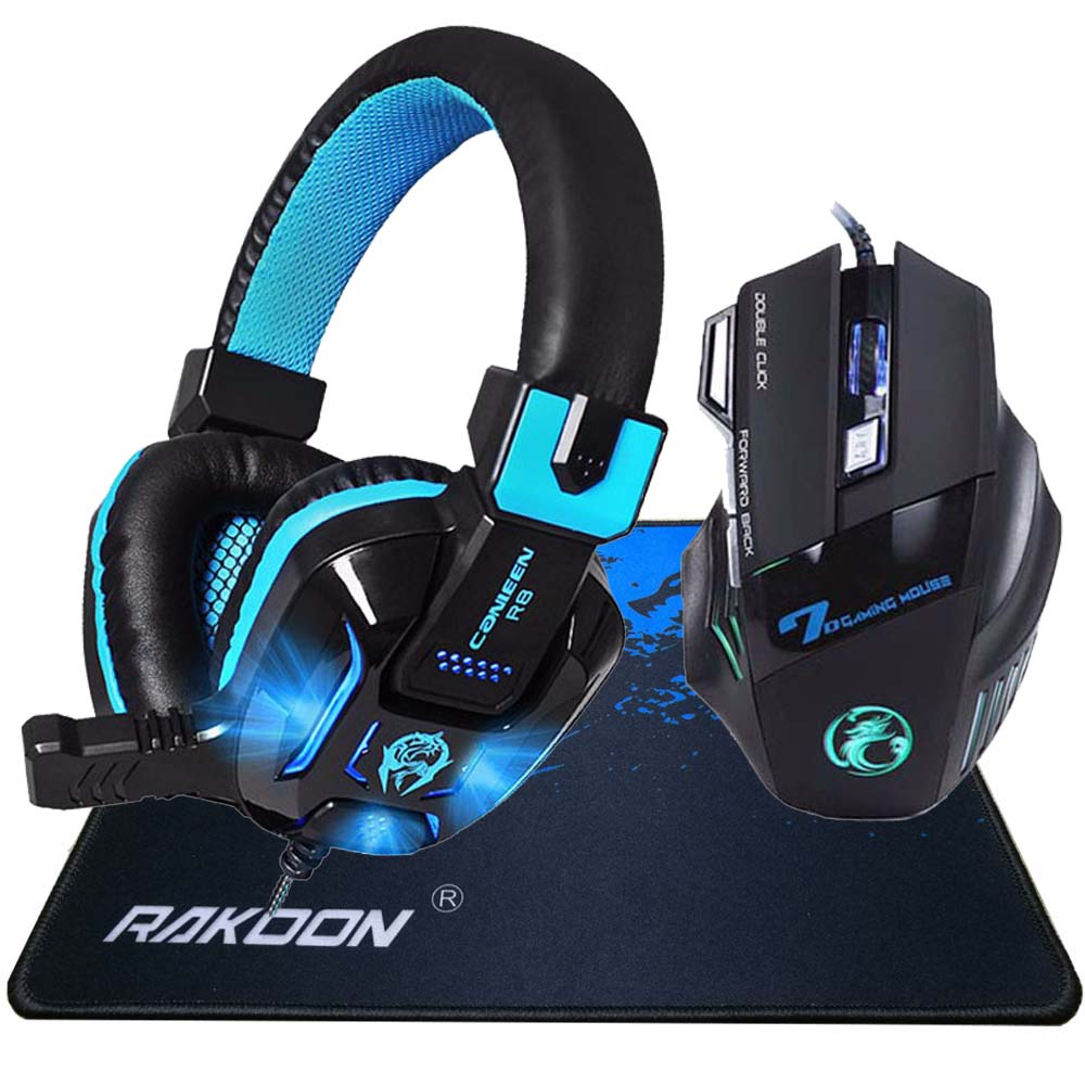 Caleen R8 Hifi Cuffia Pro Gaming Headset Gioco + X8 3200 DPI USB Wired Gaming Mouse Ottico Gamer Mouse + Gaming Mouse Pad Regalo