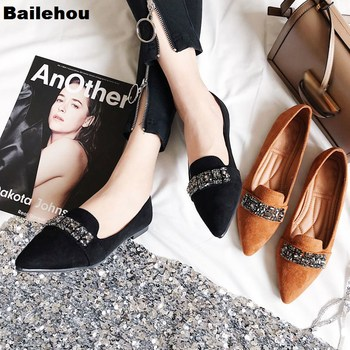 Bailehou Women Flat Ballet Shoes Pointed Toe Shallow Slip On Crystal Women Single Shoes  Ladies Comfortable Flats Zapatos Mujer 2017 summer spring women ballet flats round toe slip on shoes woman flower bowknot loafers vintage zapatos mujer canvas
