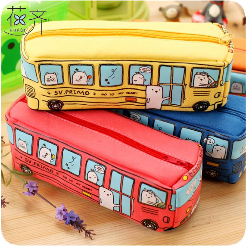 Form New Animal School Bus Stationery Canvas Pencil Case Storage Organizer Pencil Bag gift Office School Stationery supply