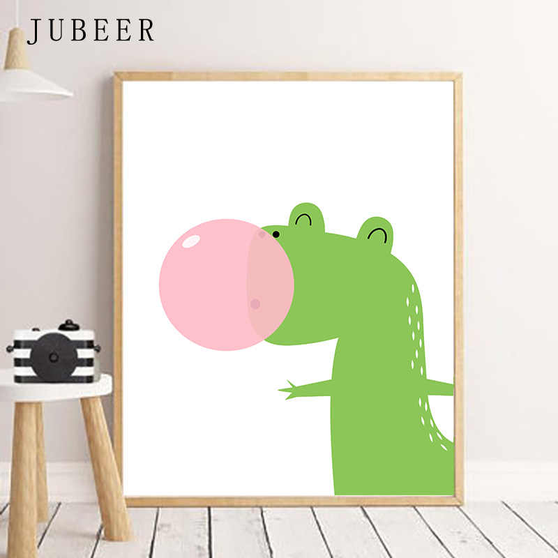 Настенная живопись садик динозавры печать для маленьких мальчиков искусство динозавр Милый Постер и принт животных живопись для детской комнаты детская спальня картина