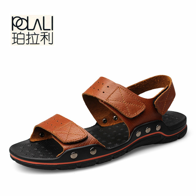 7b902c33aa68f POLALI Men Sandals Summer Men s Slippers Leather Shoes Beach Casual  Breathable Home Slippers Men Shoes Flip-Flops Zapatos size48