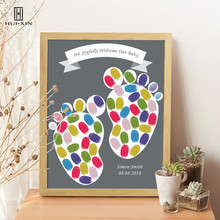 Children's Baptism  Fingerprints Gestbook Of A Pair Of Lovely Foot Pictures Canvas Free Name Date For Kid  Birthday Party Decor