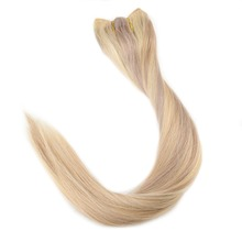Full Shine 100% Flip Human Hair Extensions Halo Style No Clip No Tape Color #18/613 Blonde Fish Line Halo Remy Hair Extension
