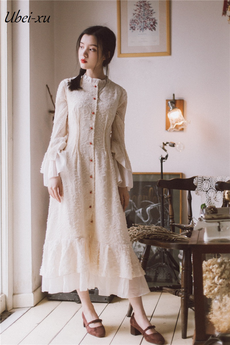 Ubei2019 Spring butterfly long sleeve dress French fashion style oyster white holiday fairy dress grace women