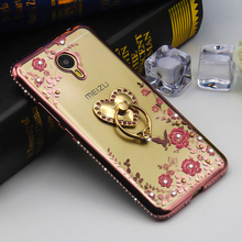 Ringcall Diamond Crystal Glitter Edge for Meizu Meilan M2 M3 M5 Note 2 3 5 TPU Soft Back Cover Ring Holder Phone Case Funda