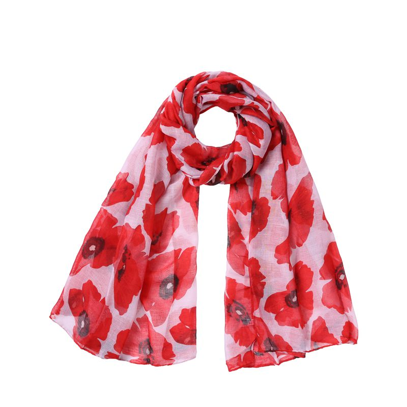 2018 New Poppy Print   Scarves   And Shawl Cotton Voile big Poppy Floral   Scarf   Hijab   Wrap   Flower Muffler 5 Color Free Shipping