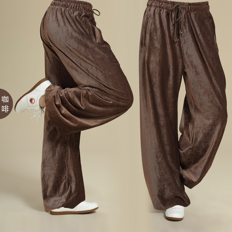 Chinese men and women practicing Tai Chi pants corduroy pants Home Furnishing drawstring Yoga leisure sports pants