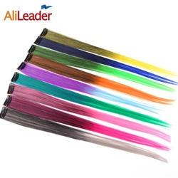 Alileader синтетические волосы цельный для женщин длинные прямые Ombre клип в наращивание волос Высокая Tempreture волокно розовый зеленый блонд