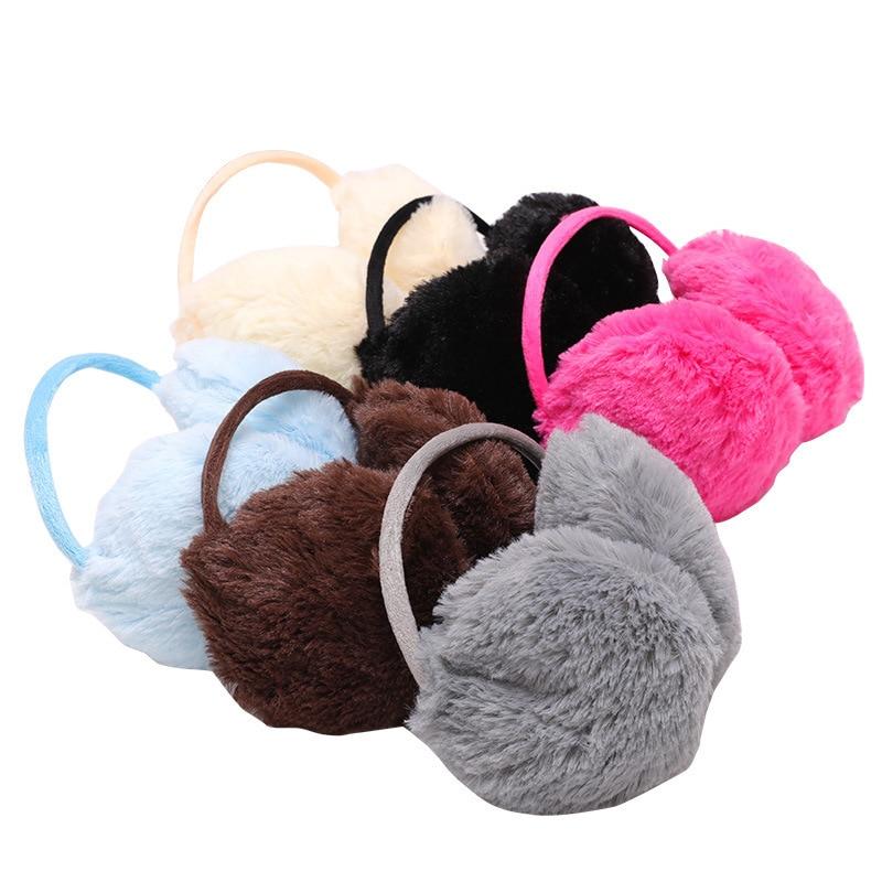 1PC Women Men Warm Fur Earmuffs Unisex Girls Winter Earwarmers Ear Muffs Earflap Warmer Headband Fur Round Unisex Earmuffs
