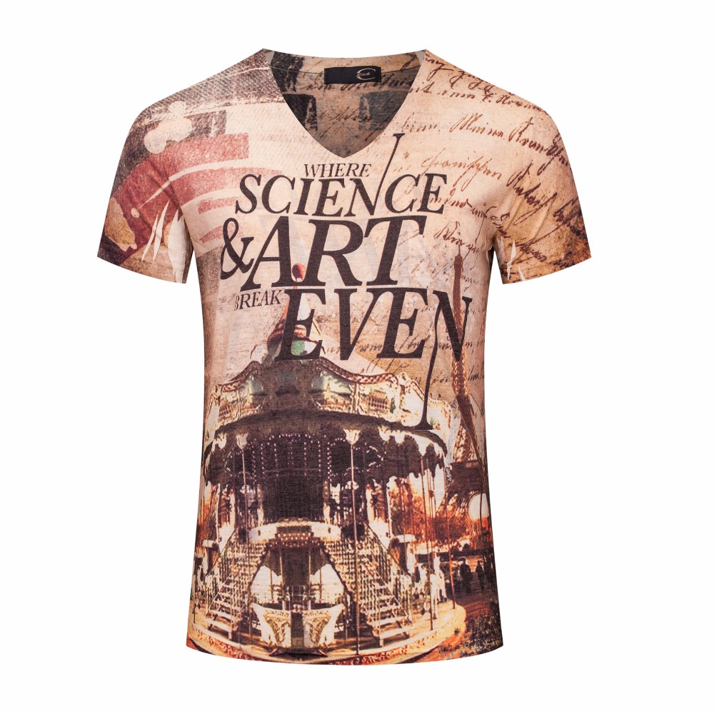 Design t shirt europe - Europe And America Design Street Style Original Color Printed Science Art Short Sleeve T Shirt Cotton Summer
