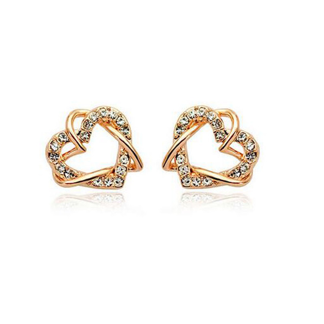 Kids Jewelry Rose White Gold Color Clear Crystal Cer Double Heart Stud Earrings For Children