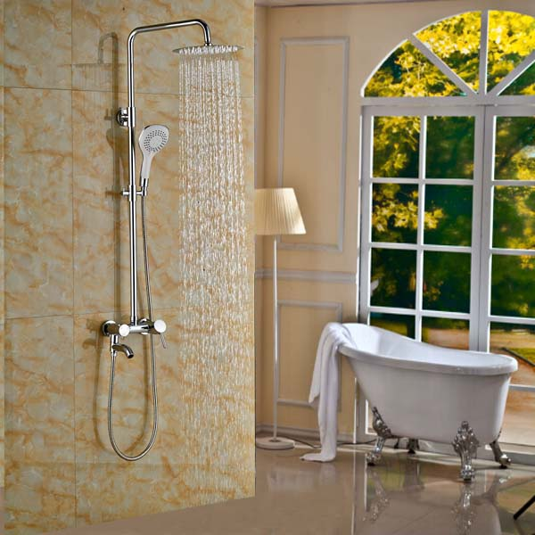 10 Brass Rain Shower Faucet Tap Chrome Finished Bathtub Shower Faucet poiqihy chrome rain