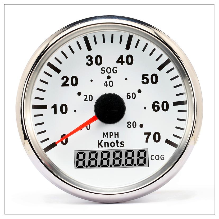 Vessel universal 85mm GPS Speedometer Odometer 0-70Knots 0-80MPH For Boat Yacht Vessels With Trip Mileage Red backlight. 100% brand new gps speedometer 60knots for auto boat with gps antenna white color