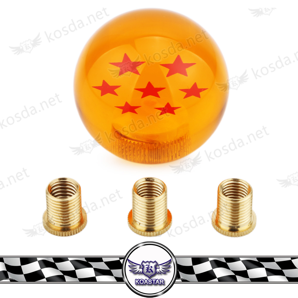 New 54mm Racing Stick Cool Acrylic Auto Shift Knob / 7 Stars Dragon Ball Z Gear Diameter gear Shift Knob for universal car stylish peach wood leather car shift stick knob