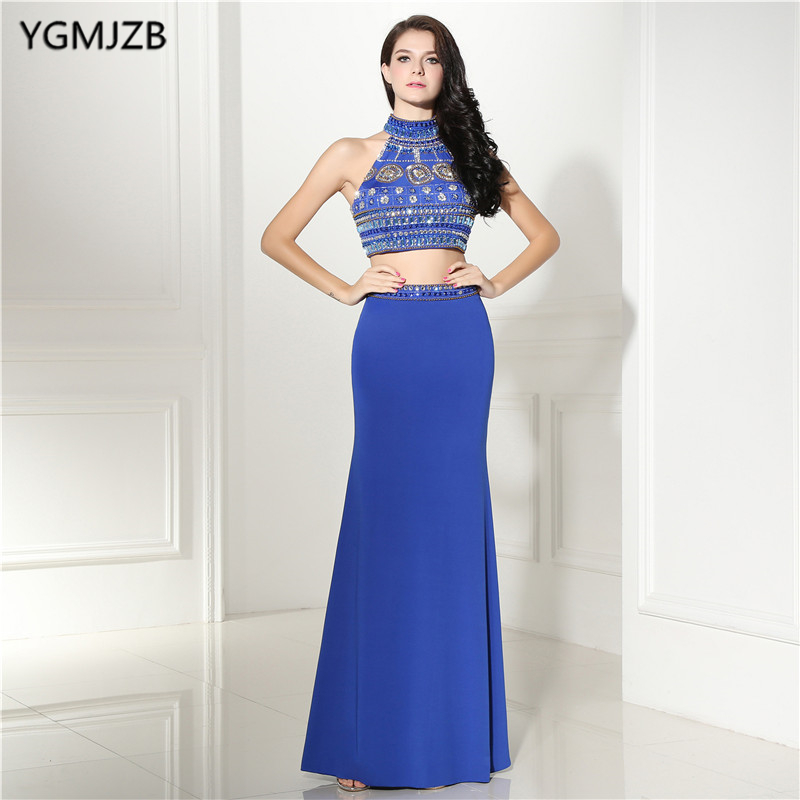 Open Back Mermaid   Evening     Dresses   Long 2018 Blue Two Piece Prom   Dresses   High Neck Beaded Wonmen Formal   Evening   Party Gown