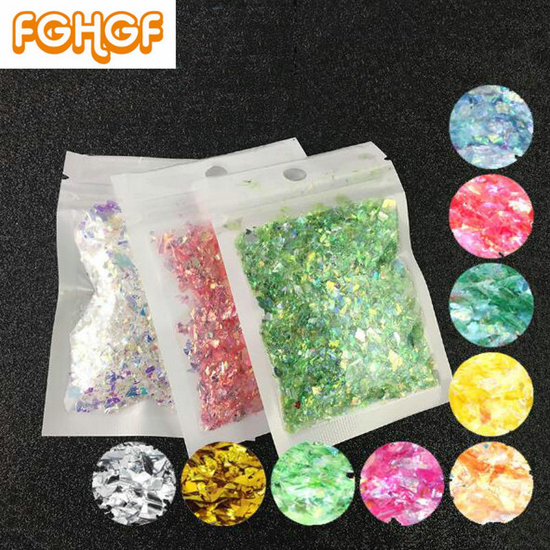 5g Irregular Glitter Candy Paper Sequins DIY Resin Craft Jewelry Decor 21 Color Available Ice Mylar Shell Paper Flakes Paillette