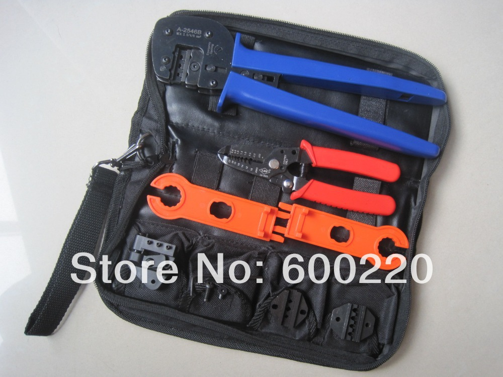 цена на solar mc4 crimping tool set,pv solar panel crimping tool kit with MC3,Tyco die set