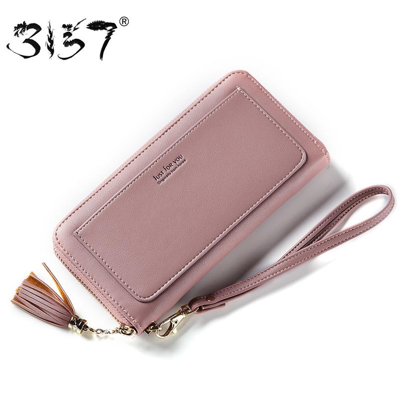3157 Fashion Tassel Zipper Women Wallet Female Leather Wristlets Bag Long Purse For Girls multiple Cards Holder Standard Wallets