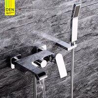 Германия все медь ванной вход тип водопад Трехместный горячей и холодной воды ванны душ смеситель для душа набор