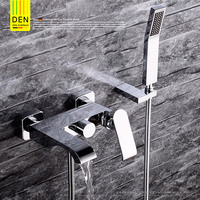 Germany all copper bathroom entrance type waterfall triple hot and cold water bath shower bath faucet shower set