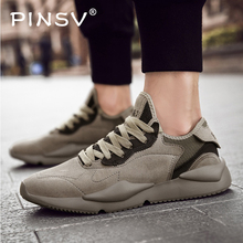 PINSV 2019 Clunky Sneaker Men Chunky Sneakers Shoes Breathable Walking Dad Mens Casual Lace-up Tenis Masculino