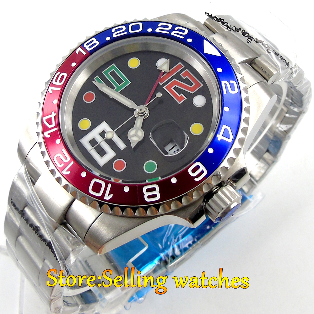 40mm parnis black dial sapphire glass GMT automatic movement mens watch 40mm parnis black dial luminous vintage sapphire automatic movement mens watch p143