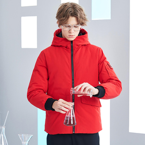 Image 2 - Pioneer camp new short winter parkas men brand clothing fashion hooded warm coat thick quality coat parkas male red AMF801485