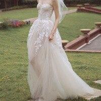 MOON MODA sleeveless lace wedding dress 2018 beach weddingdress bridal gown real photo vestido de noiva boho mariage