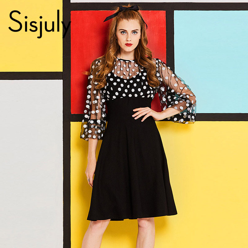 Sisjuly vintage women dress a line sexy autumn winter lace dress round neck fall patchwork girls party chic retro dress
