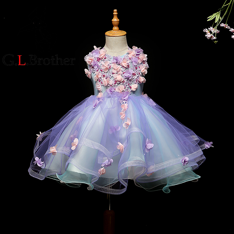 Beading Floral Kids Pageant Dress For Birthday Prom Party V-neck Ball Gown Flower Girl Dresses For Wedding Girls Princess Dress vintage u neck floral party skater dress